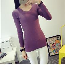 Fashion Show-slim Knit Long Sleeve Blouse (Dark Purple)