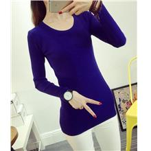 Fashion Show-slim Knit Long Sleeve Blouse (Sapphire Blue)