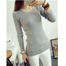 Fashion Show-slim Knit Long Sleeve Blouse (Light Grey)