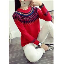 Retro Ethnic-style Knit Long Sleeve Blouse (Red)