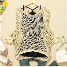 Fashion Shine Loose Long Sleeve Knit Blouse (Cream)