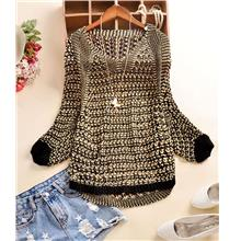 Fashion Shine Loose Long Sleeve Knit Blouse (Black)