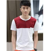 Simple Mix-Colour Pocket Men T-shirt (Red White)