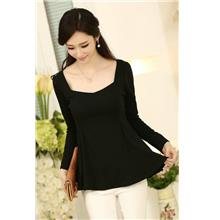 High Quality Elegant Long-Sleeve Peplum Blouse (Black)