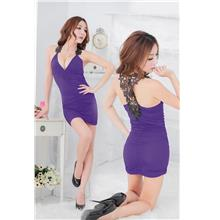 Sexy Beauty-Back Crochet Night Club Dress+T-panties (Purple)