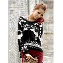 Sika Deer Knit Long-sleeve Blouse 14894 (Black)