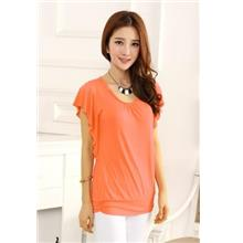 Flounce-sleeve Show-slim Blouse (Orange)
