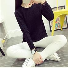 Korea Style Twisted Knit Long Sleeve Blouse (Black)