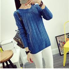Korea Style Twisted Knit Long Sleeve Blouse (Blue)
