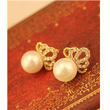 Europe-style Diamond Crown Pearl Earrings