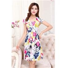 Ice Silk Printing V Collar Show-slim Dress (08)