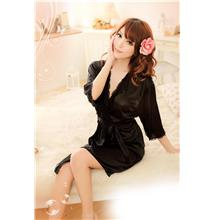 Sexy Lace-side Tie Plated Bathrobes + Belt (Black)