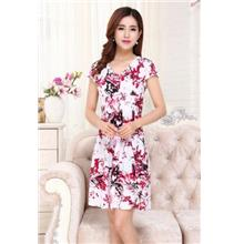 Ice Silk Printing V Collar Show-slim Dress (06)