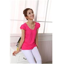 Fashion Shoulder Flounce Show-slim Blouse (Rose Red)