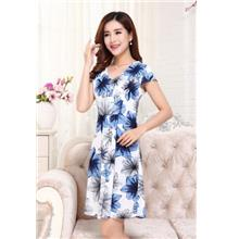 Ice Silk Printing V Collar Show-slim Dress (05)