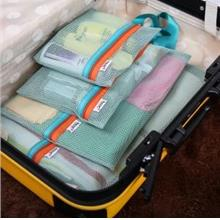 Korean~Thick Travel Grid Design Storage Bag 4 pcs