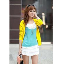 Show-slim V Long Sleeve Knit Jacket (Yellow)
