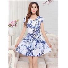 Ice Silk Piles Collar Show-slim Dress (04)