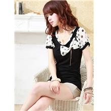 Lovely Dot-dot Ribbon Blouse-Black 12622