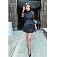 Fashion Lace Space Cotton Dress (Black)