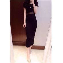 Fashion Polyester Long Dress (Black)