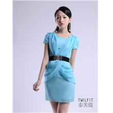 OL-style Pleated Chiffon Dress (Blue)