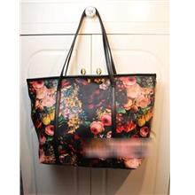 Retro Flower Single Shoulder Bag 15487 (Black)