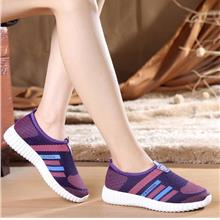 Fashion Stripe Comfortable Home Pump Shoes (Purple)
