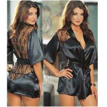 Black Lace Smooth Material Sexy Suit 3 piece