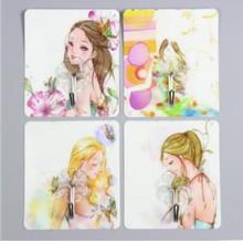 Cute Cartoon Strong Stickness Hook 4pcs (Girl)