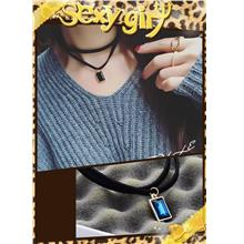 Korea Style Leather Double Layer Clavicle Necklace