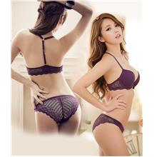 Charming Lace BeautyBack Push-Up Bra Set (Purple)
