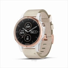 Garmin Fenix 5s Plus Sapphire Rose Gold GPS Watch With Beige Leather Band - 01