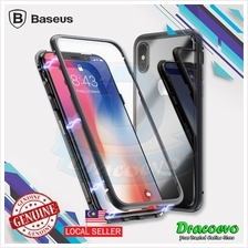 Baseus iPhone X Magnetic Metal Bumper Case Tempered Glass Back Cover