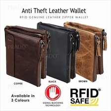 PRADO Anti Theft RFID EDC Genuine Leather Wallet Zipper Coin Card Hold
