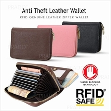 brand new 9ec7a 923c9 Anti Theft RFID EDC Genuine Leather Wallet Zipper Coin Card Holder
