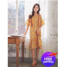 Korean Design Women Lady Short Sleeve Off Shoulder Floral Print Dress