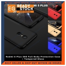 Redmi 5 Plus 360 Full Body Protection Case + Tempered Glass