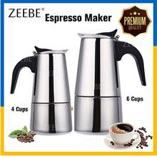 ITALY Stainless Steel 200/300ml 4/6 Cups Moka Pot Espresso Coffee Make