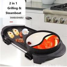 2 In 1 Grill And Steamboat Cooker Cooking Pan Pot Bbq