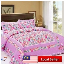 HIGH QUALITY BEDSHEET PATCHWORK QUEEN SET OF 3 PINK FLOWER
