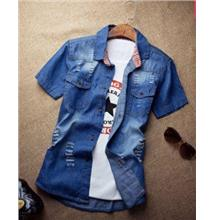 MSA14 Korean style Slim Fit Jean Men Short Sleeve Denim Shirt