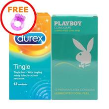 2 in 1 Set: Durex Tingle & Playboy Lubricated Cool Feel (24pcs) Free S