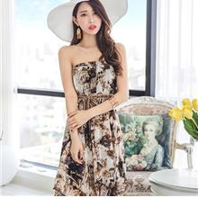 ELEGANT CHIFFON SLEEVELESS DRESS AS PICTURE