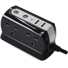 MASTERPLUG 4-SOCKET WITH 2 USB SURGE PROTECTOR 2M (SRGDU42PB-MP)
