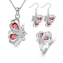 S101-B CHIC 925 SILVER PLATED NECKLACE EARRINGS RING JEWELRY SETS