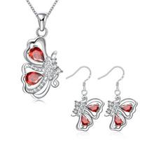 S102-B 925 SILVER PLATED NECKLACE EARRINGS JEWELRY SETS (RED)