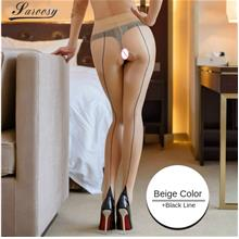 Fashion Pantyhose With High Waist Open Crotch Back Seam Cuban Heel 15D