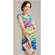 Clearance Elegant Slim Floral Lady Dress YELLOW (L size only)