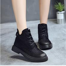 Women Suede Black Martin Boots Ankle High Lace Up Outdoor Winter Fashi